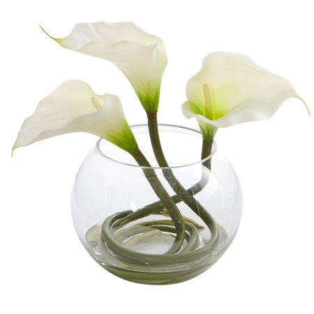 9 Calla Lily Artificial Arrangement In Rounded Glass Vase