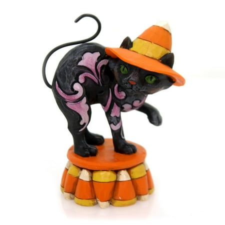 Jim Shore BLACK CANDY CORN CAT MINI Polyresin Halloween 4058850 - Jim Shore Halloween Cats