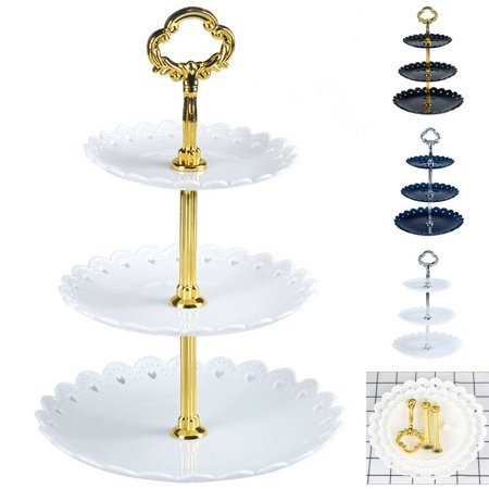 Cupcake Party Plates (3-Tier Cake Plate Stand Tray Wedding Birthday Party Cupcake Display Tower)
