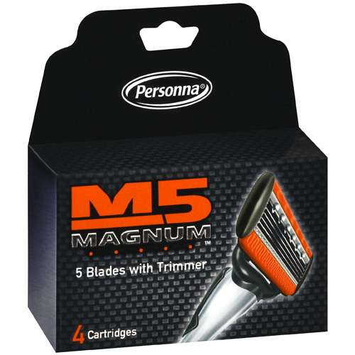 Personna 5 Blade M5 Magnum Razor With Trimmer, 4 pk