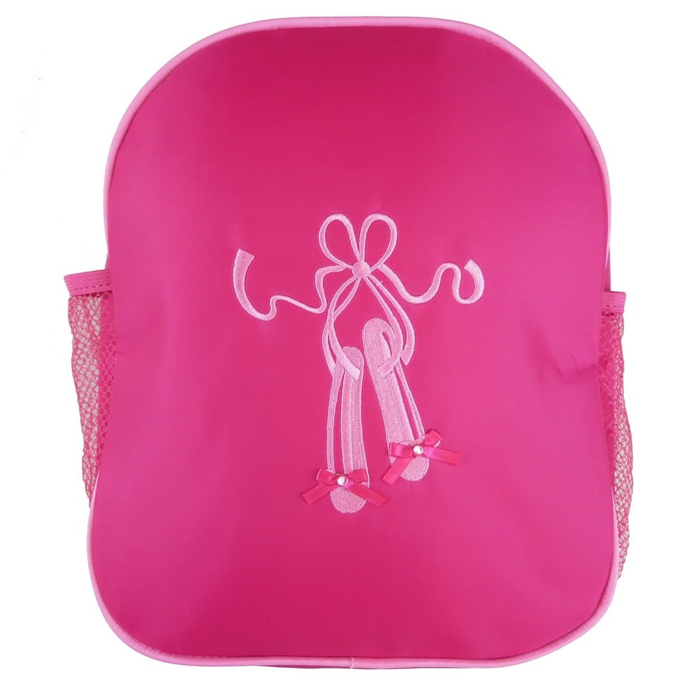 Wenchoice Girls Hot Pink Ballet Shoe Mesh Side Pockets Stylish Backpack