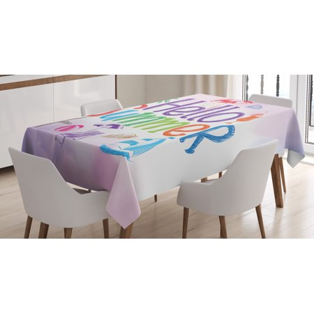 Lifestyle Tablecloth, Hello Summer Motivational Quote with Cocktail Umbrella Palms Starfish Holiday Print, Rectangular Table Cover for Dining Room Kitchen, 60 X 90 Inches, Lilac, by (Lifestyle California Rectangular Table)