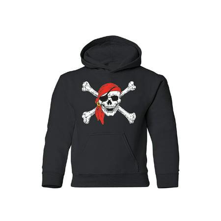 Jolly Roger Skull & Crossbones Youth Hoodie Black - Crossbones Hoodie