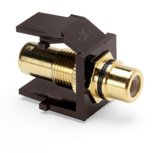 Leviton 40830-BBE QuickPort RCA Gold-Plated Connector with Black Stripe Brown