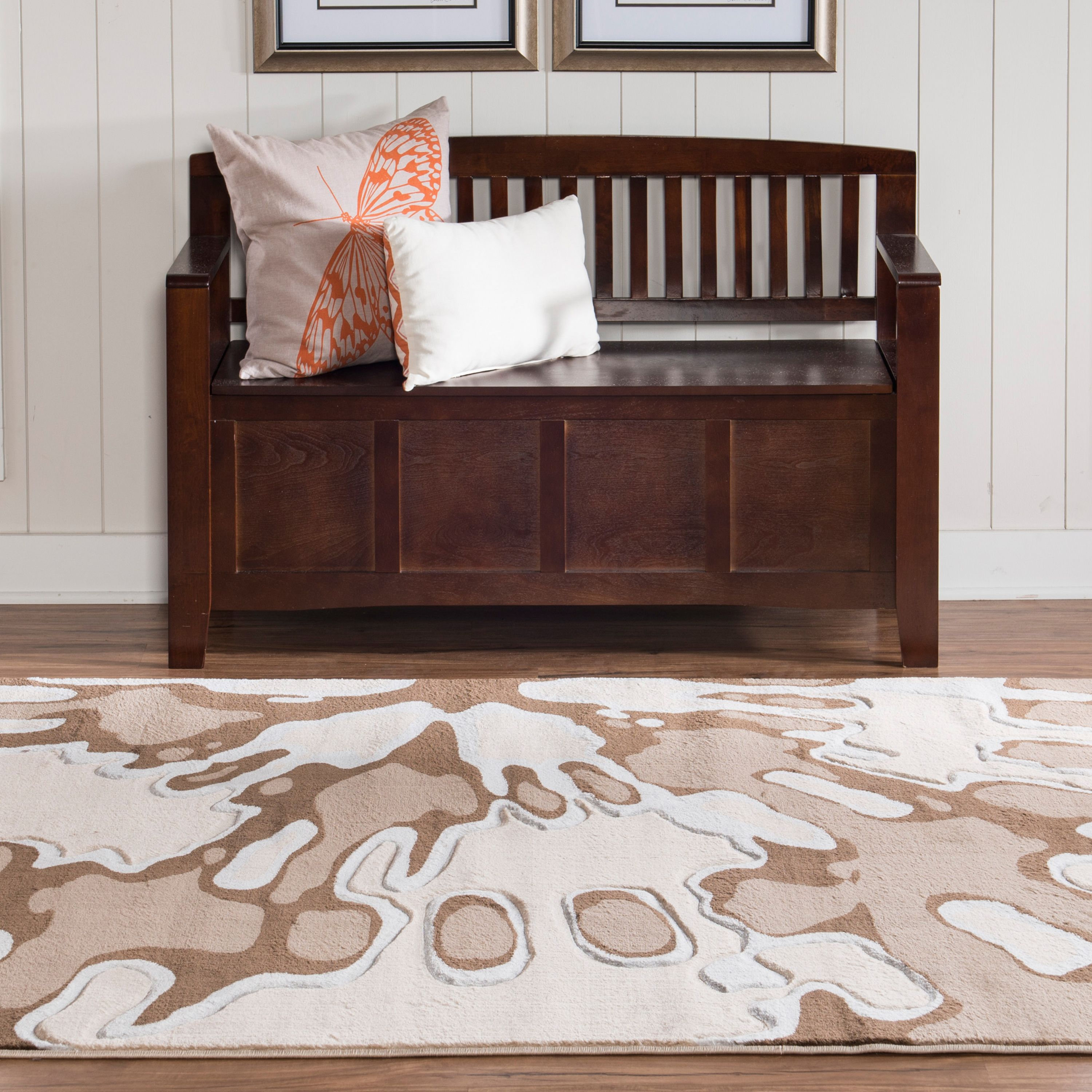 Milan Power Loomed Rug, Ivory/Brown