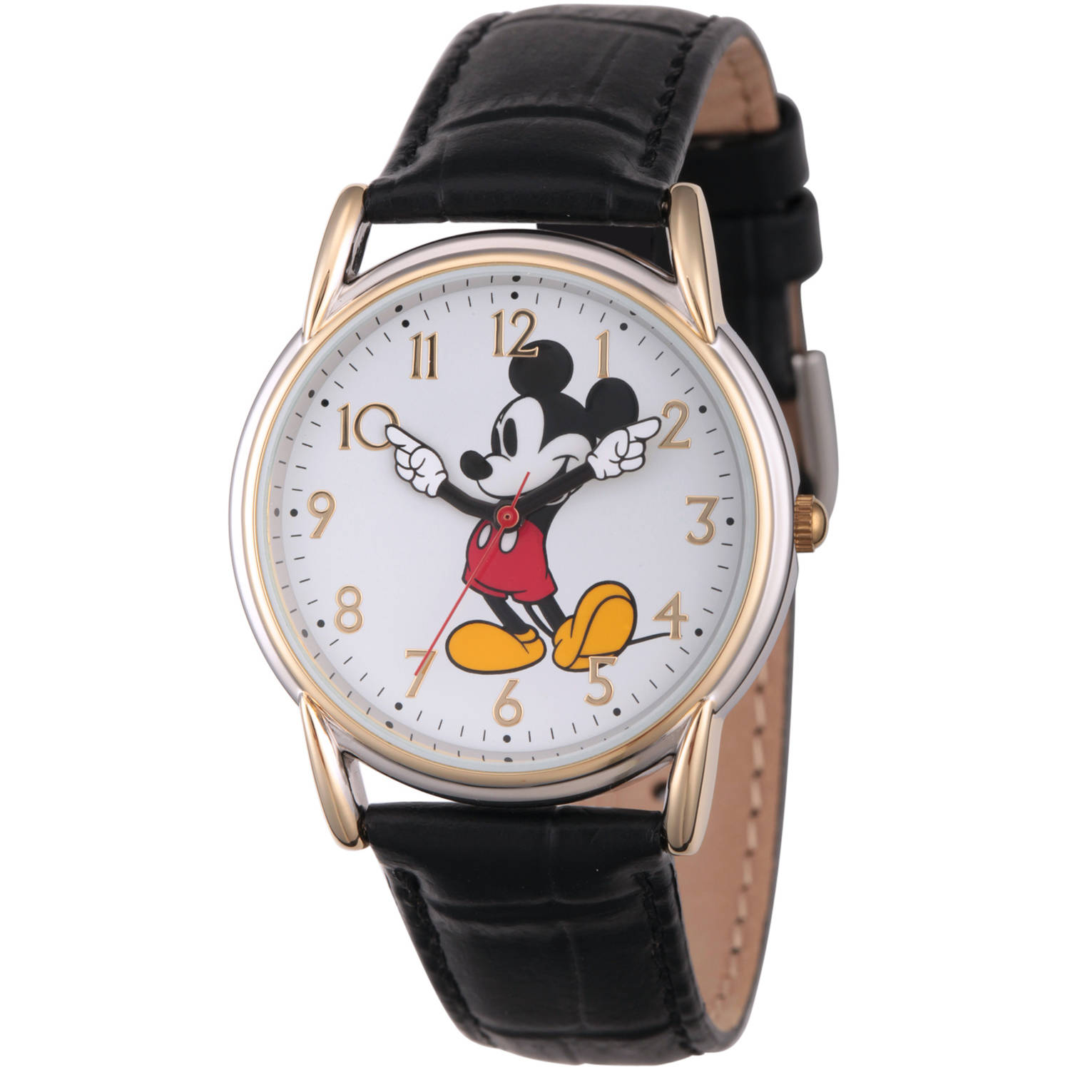Disney, Articulating Mickey Mouse Women's Two-Tone Cardiff Alloy Watch, Black Leather Strap