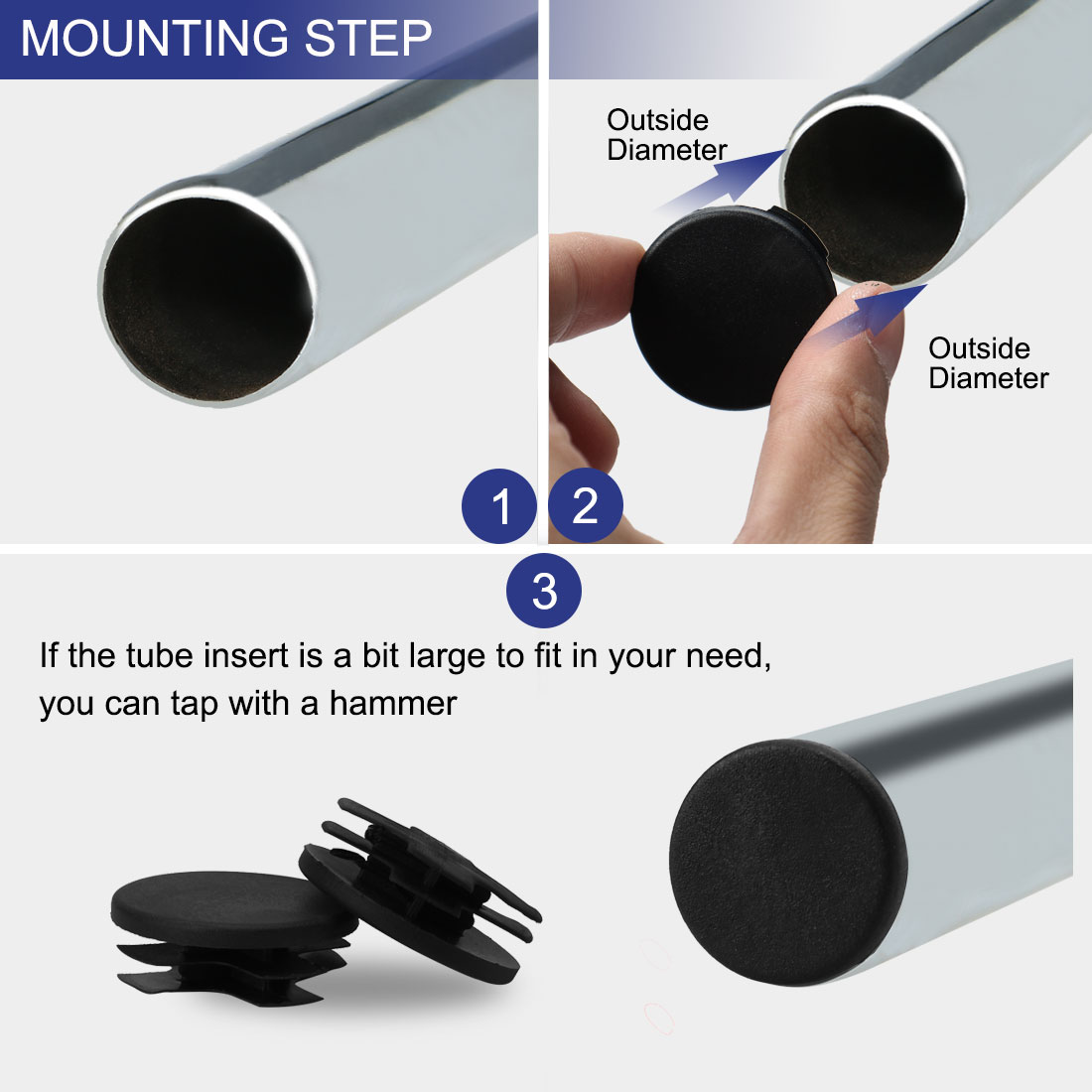 """13pcs 1 1/4"""" Dia 32mm OD Plastic Round Tube Insert Rib Pipe Cover Cap Black Floor Furniture Feet Protector, Fit for 1.14 - image 3 of 7"""