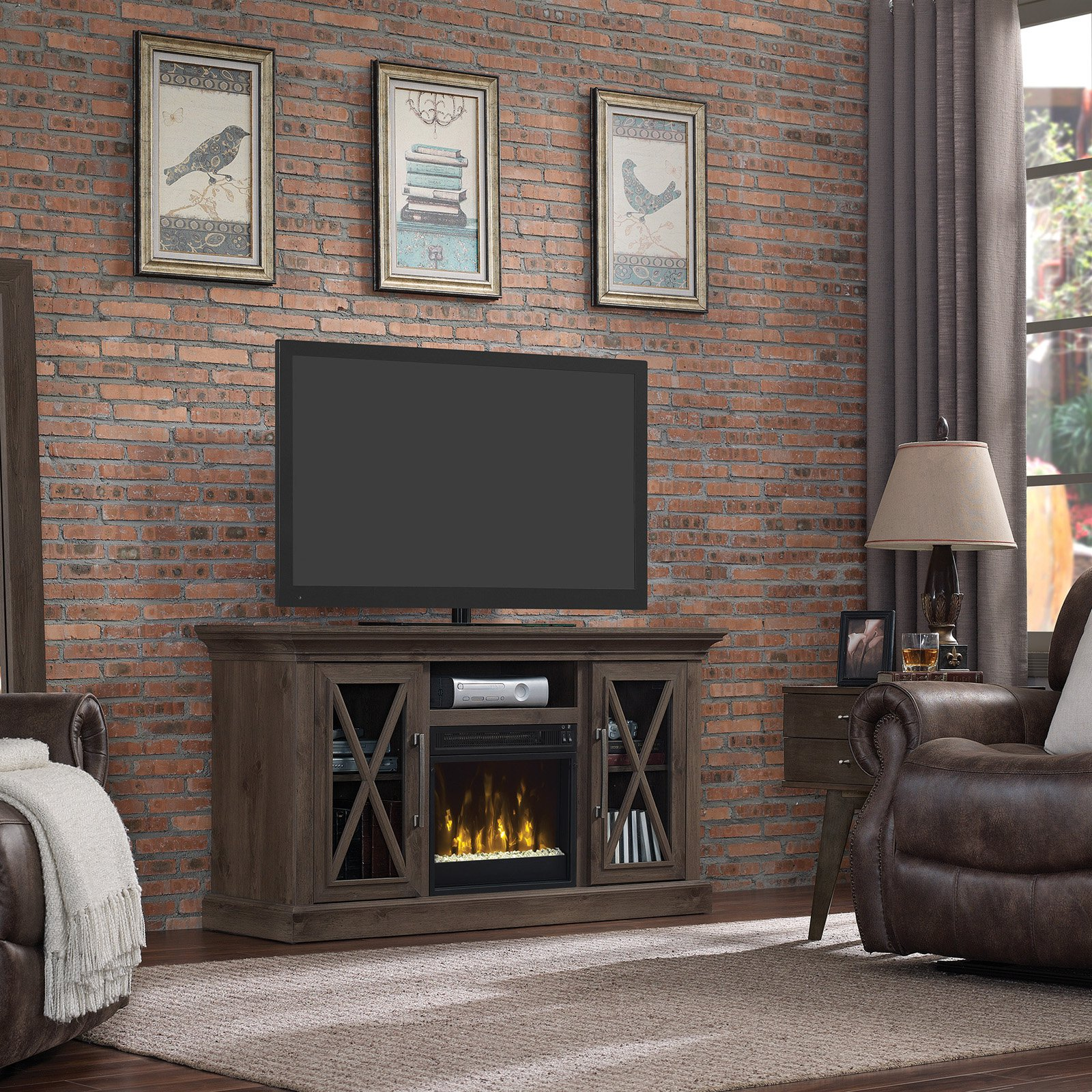 Classic Flame Cottage Grove 60 in. TV Stand with Electric Fireplace Spanish Gray