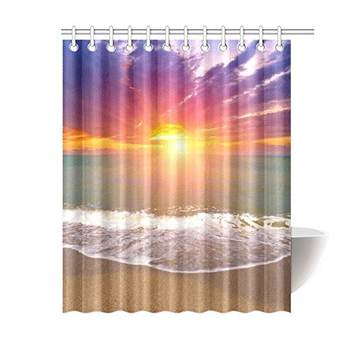 GCKG Island Seascape Sunset Over Sea Shower Curtain, Summer Tropical Beach Ocean Wave Polyester Fabric Shower Curtain Bathroom Sets 60x72 Inches - image 3 of 3