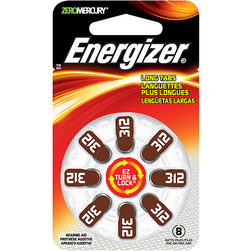 Energizer EZ Turn & Lock + Power Seal Zinc Air Hearing Aid Batteries, 1.4V, Mercury-free, Size 312, Pack of 8