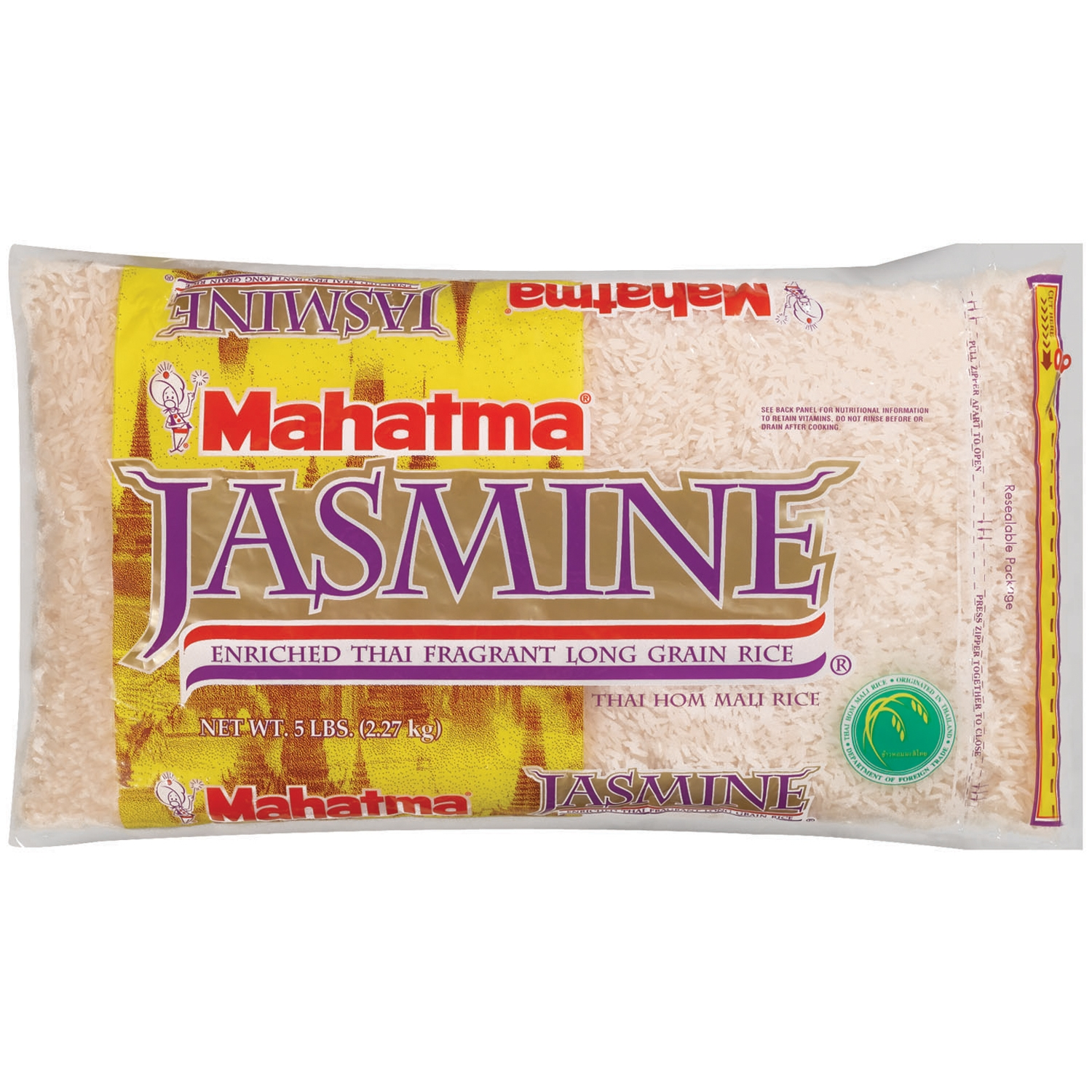 Mahatma Enriched Thai Fragrant Long Grain Jasmine Rice, 5 lb