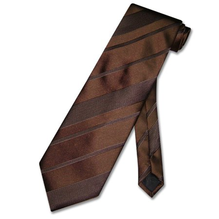Satin Stripe Woven Tie (Vesuvio Napoli NeckTie Dark Brown Woven Striped Design Men's Neck Tie)