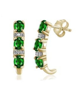 1 Carat T.G.W. Chrome Diopside and White Diamond Accent 14kt Gold Over Silver J Hoop Earrings