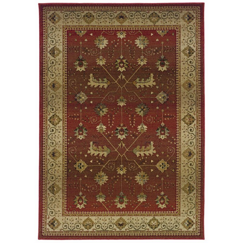 Sphinx Genesis Area Rugs - 112P1 Traditional Oriental Red Persian Leaves Vines Flowers Rug