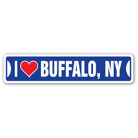 I LOVE BUFFALO, NEW YORK Street Sign ny city state us wall road décor gift