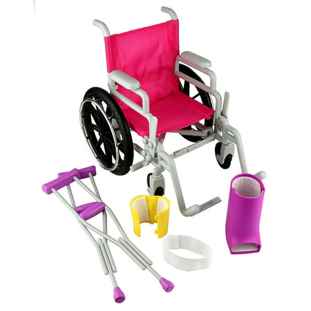 Click n' Play Doll Wheelchair and Crutches Set, Perfect For 18 inch American Girl Dolls (18 Doll Wheelchair And Crutches)