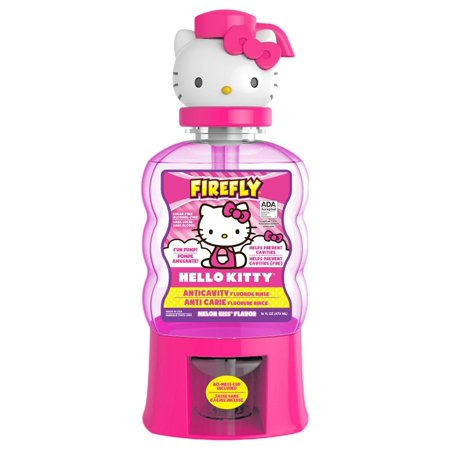 3 Pack Firefly Hello Kitty Anti-Cavity Mouth Rinse, Melon Kiss Flavor 16 oz