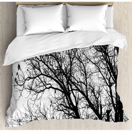 Nature Queen Size Duvet Cover Set, Leafless Autumn Fall Tree Branches Tops Oak Forest Woodland ...