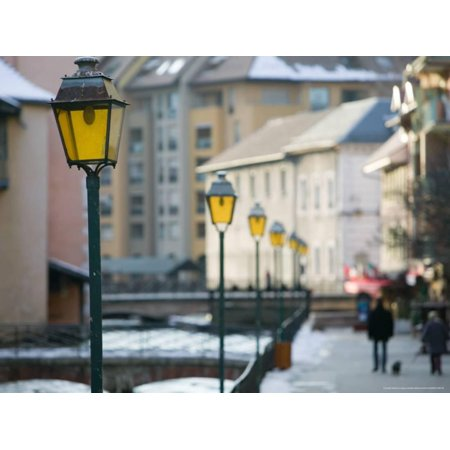 Street Lamps in Old Town, Annecy, French Alps, Savoie, Chambery, France Print Wall Art By Walter