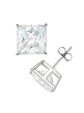 14K White Gold Men's 10Mm Square Cz Stud Earrings