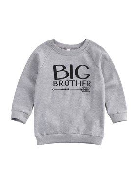 Baby Boy Sweater, Big / Little Brother Letter Print, Classic Round Neck Ribbed Closing Spring Clothing