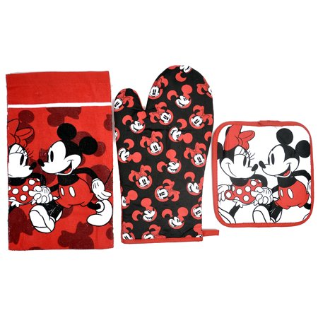 Mickey & Minnie Mouse 3pc Kitchen Set Oven Mitt Pot Holder Dish Towel Red