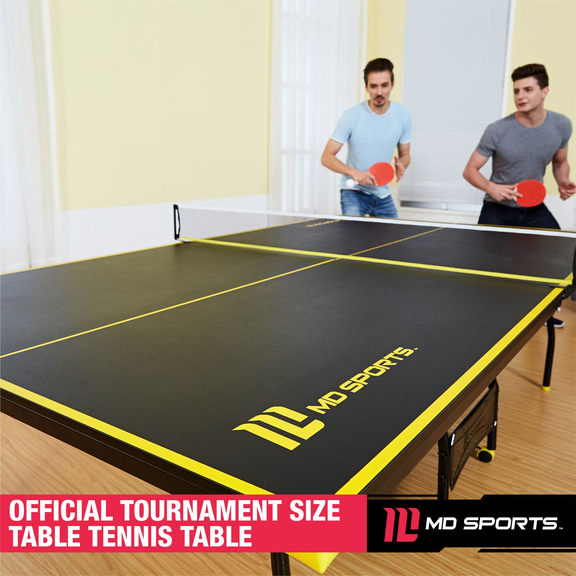 Genial MD Sports Official Size Table Tennis Table, With Paddle And Balls,  Black/Yellow   Walmart.com