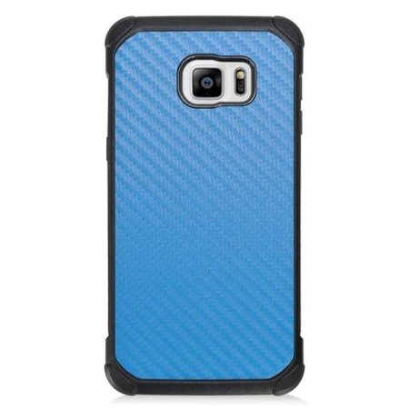 - Insten Carbon Fiber Hard Dual Layer Hybrid Case For Samsung Galaxy S6 Edge Plus - Blue/Black