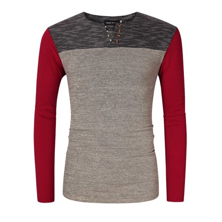 Mens Casual Slim Fit Long Sleeve Contrast Color Henley Neck