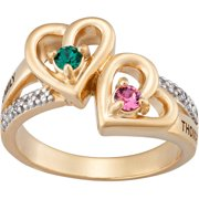 Personalized Couple's Diamond 10kt Gold Hearts Engrave-Able Name Ring