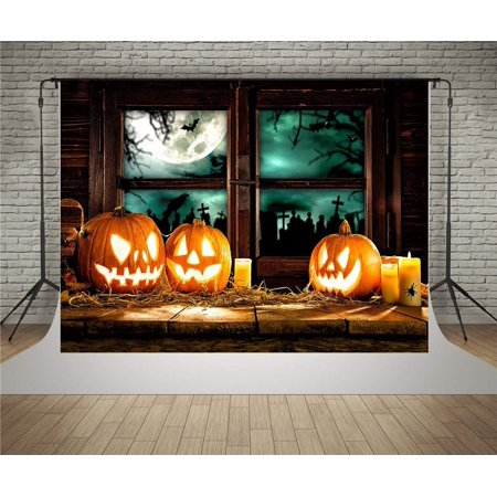 ABPHOTO Polyester Scary Halloween Backdrops Children Photography Wooden Window Backgrounds Baby Photoshoot Backdrop Anger Pumpkins Jack-o-lantern Gost Party Photo Booth Background For Masquerade 7x5ft