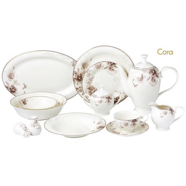 57 Piece Dinnerware Set-Bone China Service for 8 People-Cora by Lorenzo Import