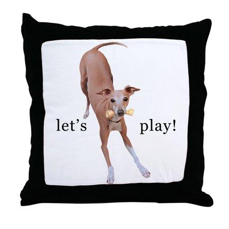 Italian Greyhound - CafePress - Italian Greyhound Dog Let's Play! - Decor Throw Pillow (18