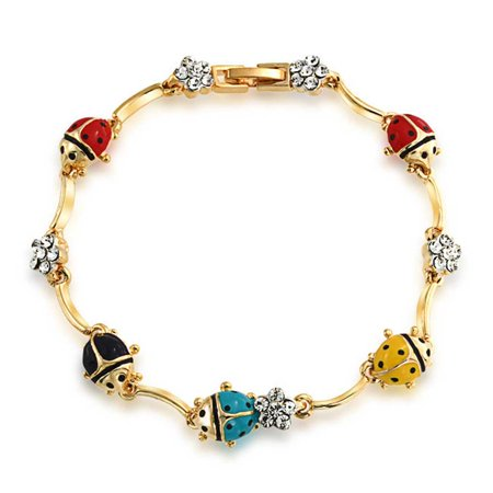 Colorful Garden Lucky Ladybug Link Charm Bracelet For Women Crystal 14K Gold Plated - Ladybug Bracelet
