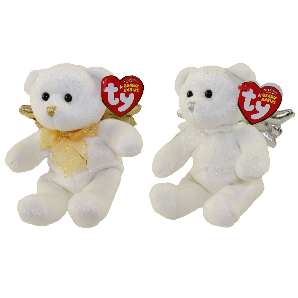 TY Beanie Babies - SET OF 2 JUBILANT BEARS (Gold & Silver Wings)