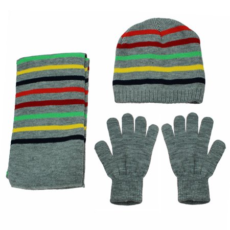 1a2b7fa99 Nolan Boys Grey Multi Stripe 3 Piece Winter Beanie Hat Gloves and ...
