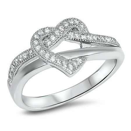 Heart Tangled Weave Clear CZ Promise Ring ( Sizes 4 5 6 7 8 9 10 11 ) .925 Sterling Silver Band Rings (Size 7)