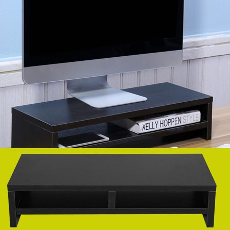 Moksha Screen Platform, Desktop Monitor Stand LCD TV Laptop Rack Computer Screen Riser Shelf Platform Office Desk Black, Monitor shelf ()