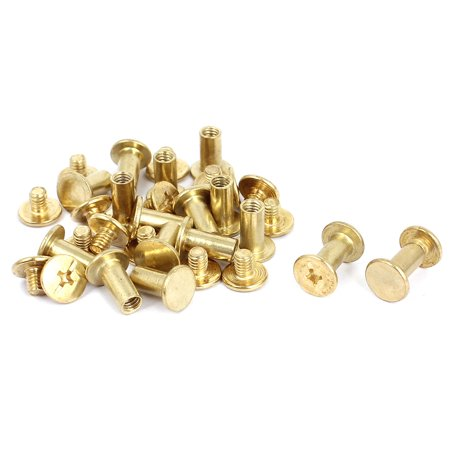 Leather Look Binding - Uxcell M5x10mm Brass Plated Binding Chicago Screw Post for Leather Purse Belt (17-pack)