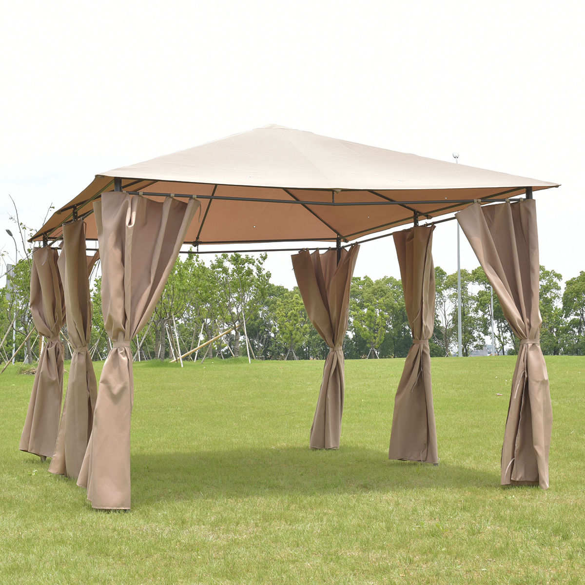 Costway Outdoor 10'x13' Gazebo Canopy Tent Shelter Awning Steel Frame W Walls Brown by Costway
