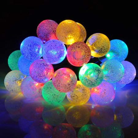 Mpow Solar Outdoor String Lights 20ft 30 LED Multi-color Four-color Crystal Ball Solar Powered Globe Fairy Lights for Garden Fence Path Landscape Decoration