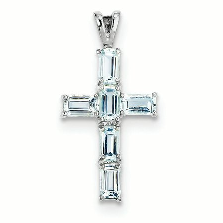 Sterling Silver Aquamarine Cross Charm Pendant Aquamarine Religious Cross