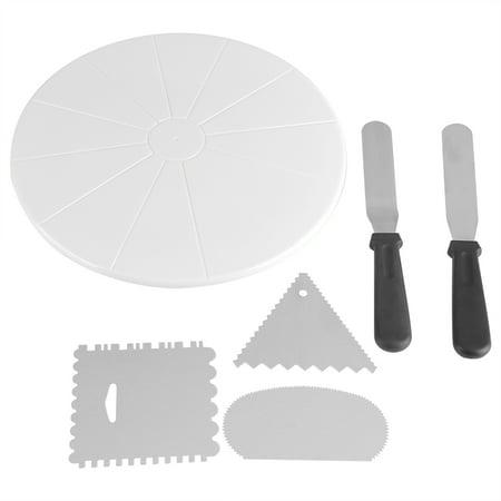 WALFRONT 29cm Plastic Anti Skid Cake Turntable Rotating Platform Plate DIY Decor Mounting Pattern Tool, Cake Rotating Stand, Cake Decorating Turntable