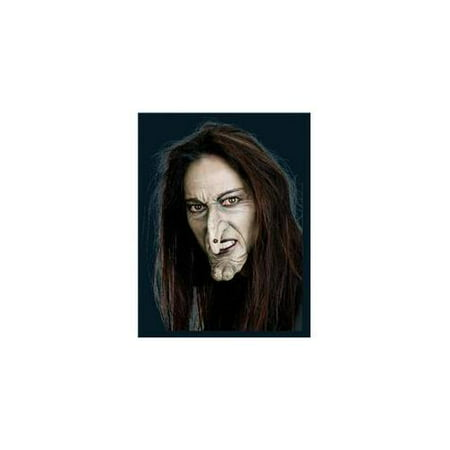 Witch Face with Nose and Chin Prosthetic Adult Halloween Accessory](Halloween Saw Face)