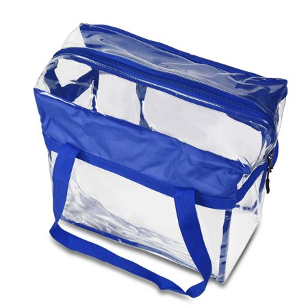 "Zodaca Stylish PVC Transparent Handbag Tote Carry Travel Bag (Size: 13""L x 6""W x 12""H) - Blue - image 3 of 4"