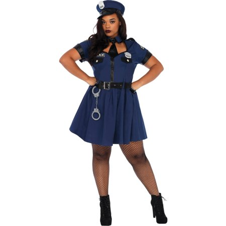 Cheap Plus Size Cop Halloween Costumes (Leg Avenue Womens 5 PC Plus Size Flirty Cop)
