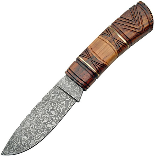 "Damascus 1083 Fixed Blade Carved Wood Handle Knife 9.375"" Overall"