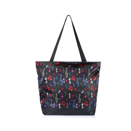 All Purpose Utility Bag - Large All Purpose Travel Bag by Zodaca Laundry Shopping Zipper Utility Shoulder Tote Carry Bag - Multi-color Music Note
