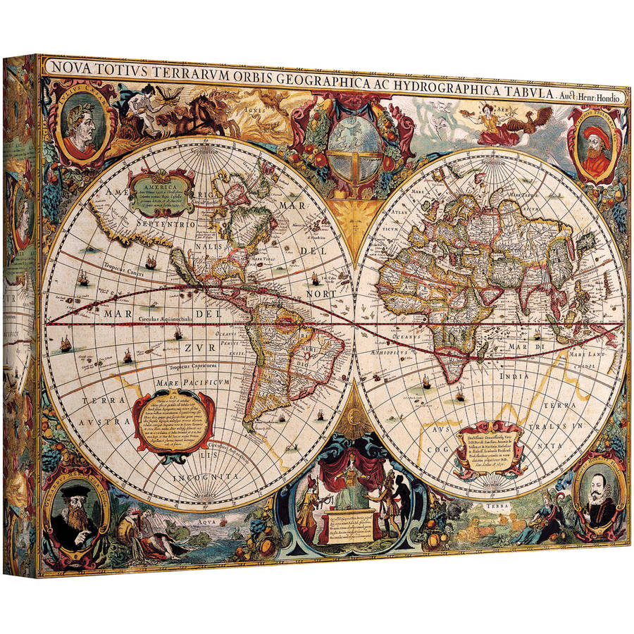 """Henricus Hondius """"A New And Accurate Map Of The World"""" Gallery-Wrapped Canvas"""