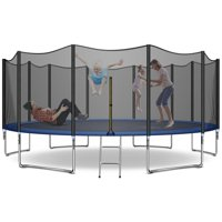 Trampoline 16 FT with Safe Enclosure Net, Kids Trampoline for Play & Exercise Indoor or Outdoor, Waterproof Jump Mat, Backyard Trampoline Ladder for Adults Fitness Equipment